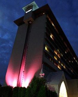 ピンク色にライトアップされたホテルナゴヤキャッスル