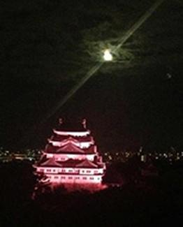 ホテルから見た名古屋城のライトアップ