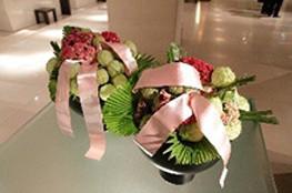 ホテルナゴヤキャッスルのピンク色にアレンジされた館内装花